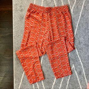 SHE for Anthro silky Orange Print Jogger Pants